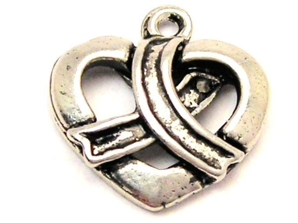 Heart With Awareness Wrapped Around It Genuine American Pewter Charm
