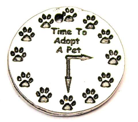 Time To Adopt A Pet Clock With Paw Prints Genuine American Pewter Charm
