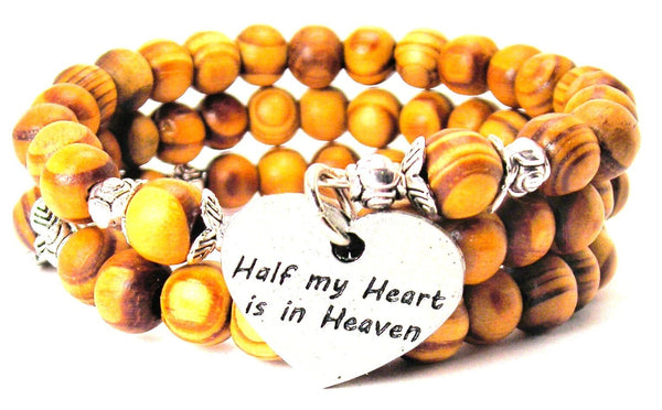 Half My Heart Is In Heaven Natural Wood Wrap Bracelet