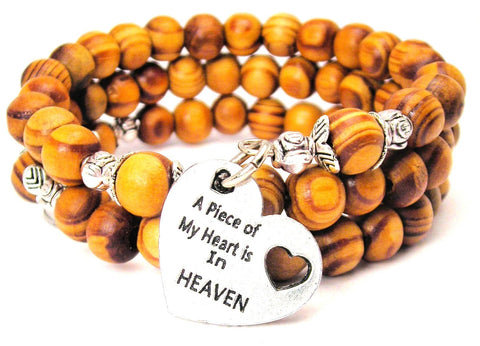 A Piece Of My Heart Is In Heaven Natural Wood Wrap Bracelet