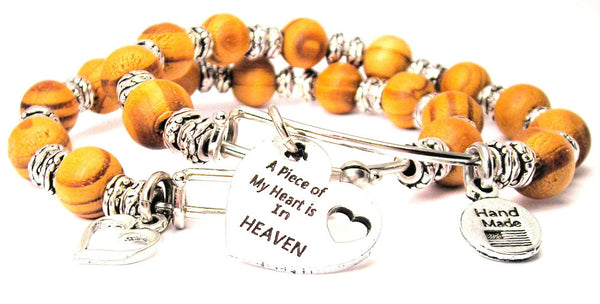 A Piece Of My Heart Is In Heaven Natural Wood Double Bangle Set