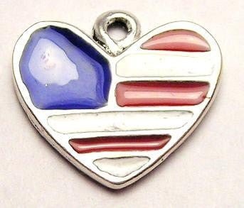 Heart Flag Red White And Blue Genuine American Pewter Charm
