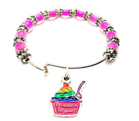 Rainbow Colored Frozen Yogurt  9mm Glass Beaded Single Bracelet