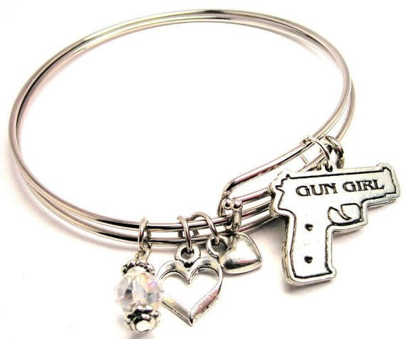 gun girl bracelet, gun girl bangles, gun girl jewelry, second amendment bracelet, gun bracelet