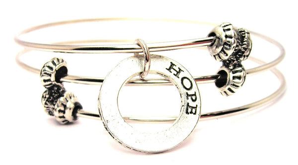 Hope Affirmation Ring Triple Style Expandable Bangle Bracelet
