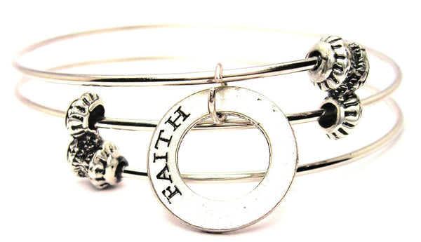 Faith Affirmation Ring Triple Style Expandable Bangle Bracelet