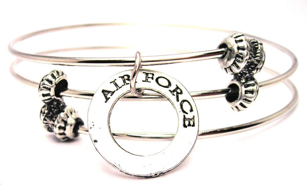 Air Force Affirmation Ring Triple Style Expandable Bangle Bracelet