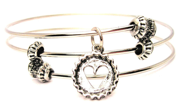 Heart Cut Out In Bottle Cap Triple Style Expandable Bangle Bracelet