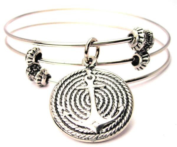 Anchor On Curled Rope Triple Style Expandable Bangle Bracelet