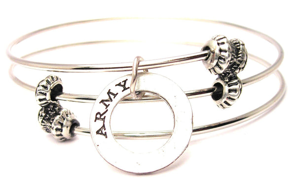 Army Affirmation Ring Triple Style Expandable Bangle Bracelet