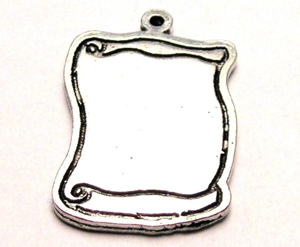 Blank Scroll Genuine American Pewter Charm