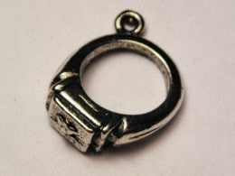 Graduation Ring Charm Genuine American Pewter Charm