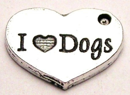 I Love Dogs Genuine American Pewter Charm