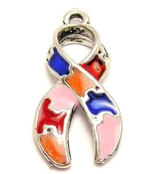 Autism Puzzle Piece Ribbon Painted Genuine American Pewter Charm