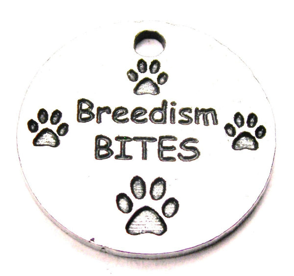 Breedism Bites With Paw Prints Genuine American Pewter Charm