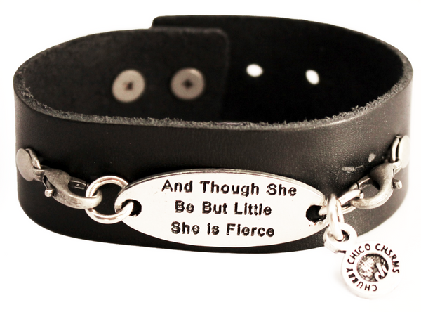 And Though She Be But Little She Is Fierce Black Vegan Faux Leather Cuff Bracelet