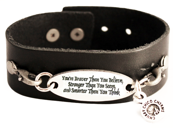 You're Braver Than You Believe Stronger Than You Seem Smarter Than You Think Black Vegan Faux Leather Cuff Bracelet