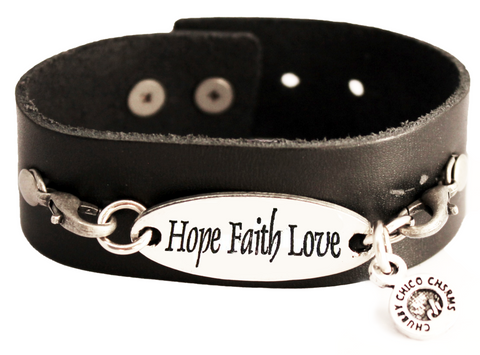Hope Faith Love Black Vegan Faux Leather Cuff Bracelet
