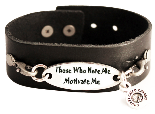 Those Who Hate Me Motivate Me Black Vegan Faux Leather Cuff Bracelet