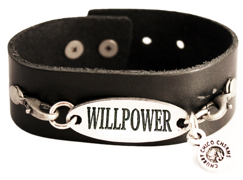 Willpower Black Vegan Faux Leather Cuff Bracelet