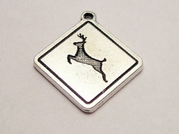 Deer Road Sign Genuine American Pewter Charm
