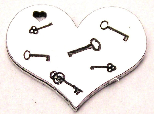 Many Keys To My Heart Genuine American Pewter Charm