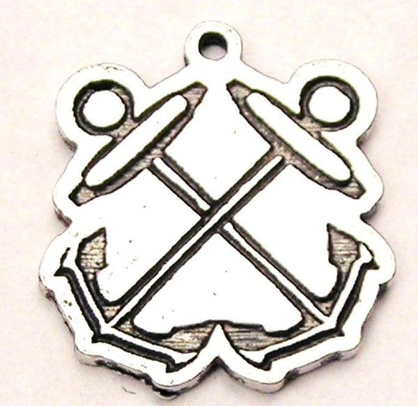 Boatswain Crossed Anchors Genuine American Pewter Charm