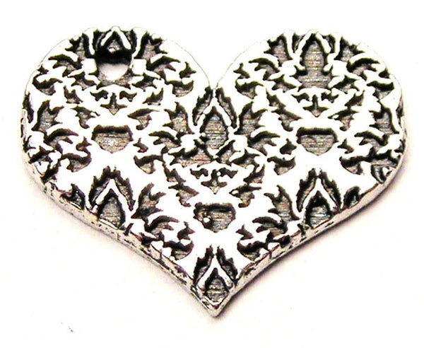 Damask Heart Genuine American Pewter Charm