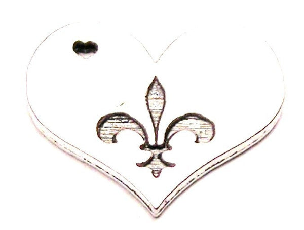 Heart With Fleur De Lis Genuine American Pewter Charm