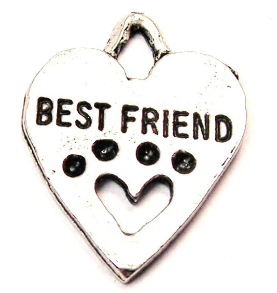 Best Friend Paw Print Heart Genuine American Pewter Charm