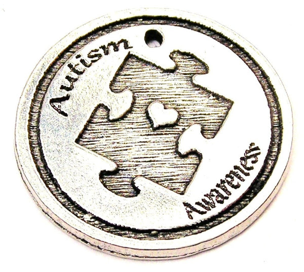 Autism Awareness Puzzle Piece With Heart Genuine American Pewter Charm