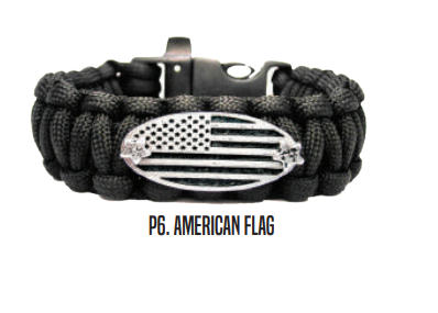 American Flag Engraved Catalog Paracord Black