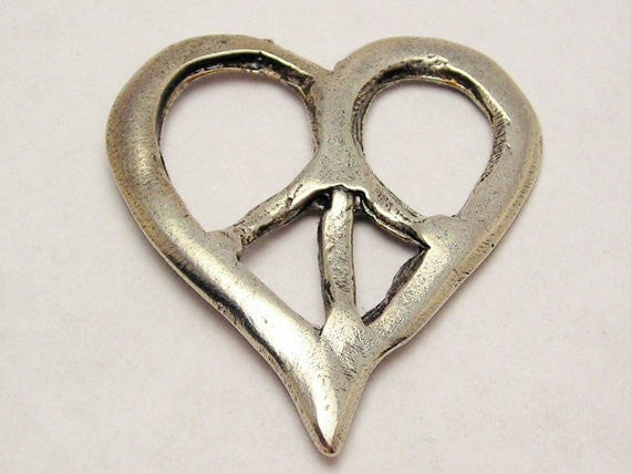 Abstract Rustic Peace Symbol Heart Genuine American Pewter Charm