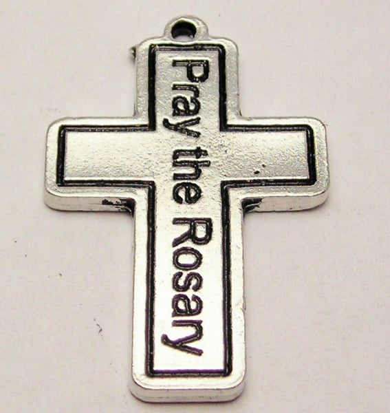 Cross Pray The Rosary Genuine American Pewter Charm