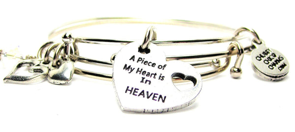 A Piece Of My Heart Is In Heaven Expandable Bangle Bracelet Set