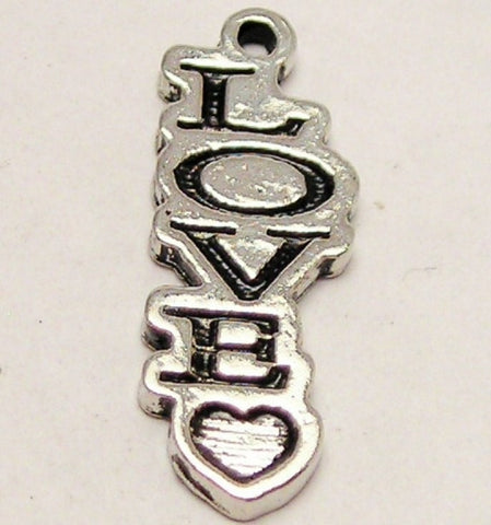 Love With Heart Letters Going Down Genuine American Pewter Charm