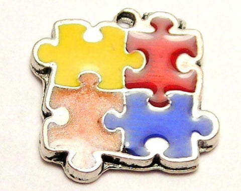 Autism Puzzle Pieces Painted Genuine American Pewter Charm