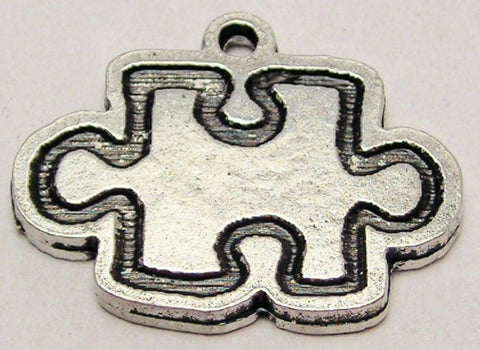 Outline Style Puzzle Piece Genuine American Pewter Charm