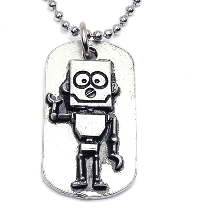 Robot Catalog Dog Tag Necklace