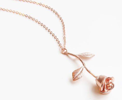 Single Rose Charm Necklace In Rose Gold Tone