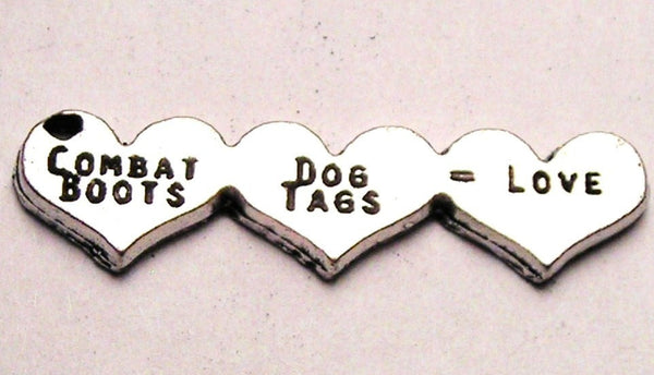 Combat Boots Dog Tags Love Three Hearts Genuine American Pewter Charm