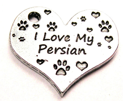 I Love My Persian Heart Genuine American Pewter Charm