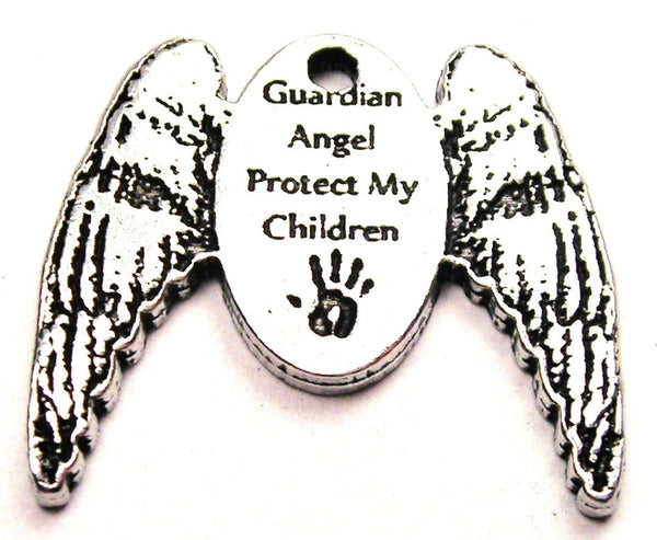 Guardian Angel Protect My Children Genuine American Pewter Charm