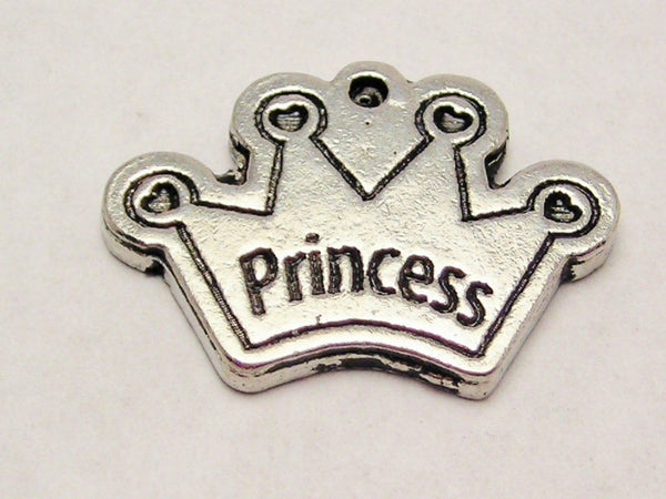 Princess Crown With Four Point Hearts Genuine American Pewter Charm