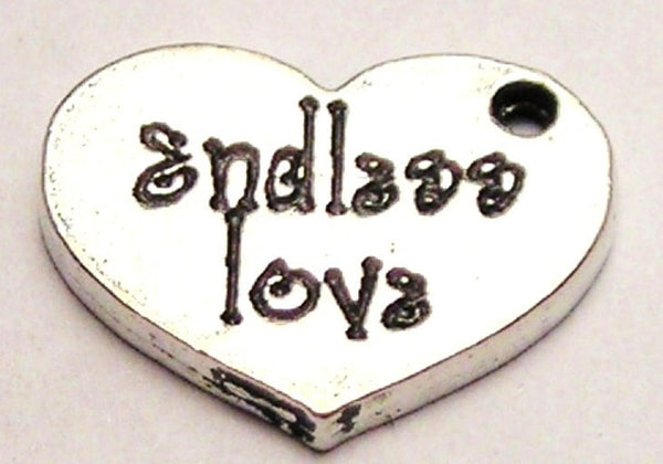 Endless Love Accent Heart Genuine American Pewter Charm