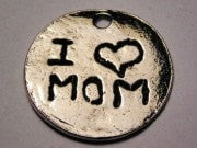 I Heart Mom Genuine American Pewter Charm