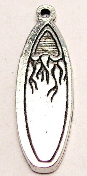 Flaming Surfboard Genuine American Pewter Charm