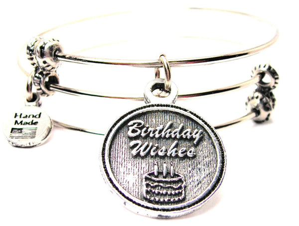 Birthday Wishes Triple Style Expandable Bangle Bracelet