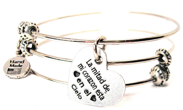 La Mitad De Mi Corazon Esta En El Cielo Half My Heart Is In Heaven In Spanish Triple Style Expandable Bangle Bracelet