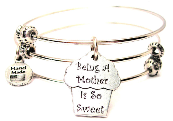 Cupcake Being A Mother Is So Sweet Triple Style Expandable Bangle Bracelet